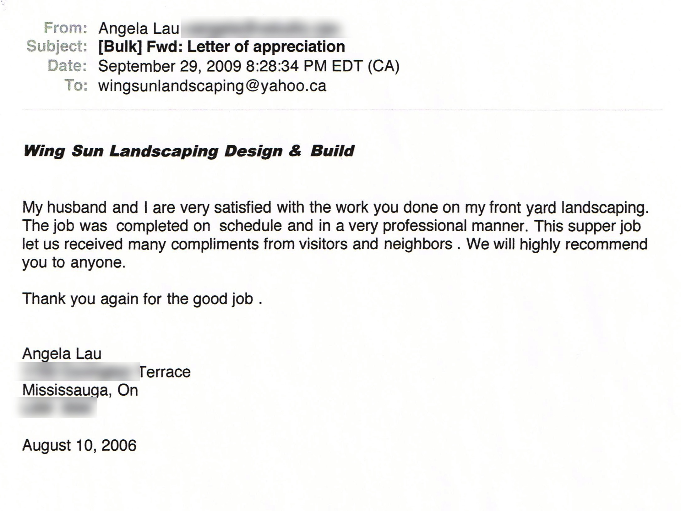 Angela Lau, Mississauga, On - Wing Sun Landscaping And Build